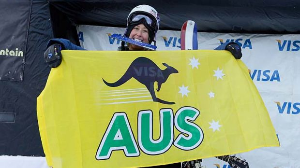 Australia's Anna Segal stands on the podium after placing third in the FIS Freestyle Ski World Cup ladies' slope style ...