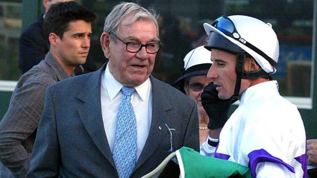 Winning owner ... Geoff White with jockey Glen Boss after his win in the Cameron Handicap on Collate in 2005.