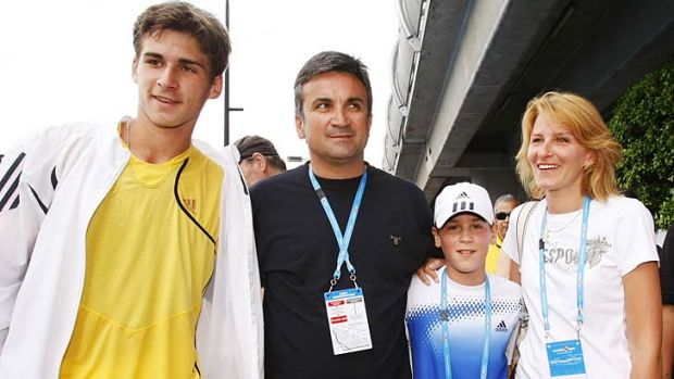 Recovering from illness ... Srdjan  Djokovic with his wife Dijana and sons Marko, left and Djordje at the Australian ...