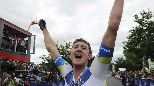 Luke Durbridge celebrates his second national title for 2013.