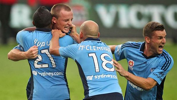 Ecstasy … Rhyan Grant's late goal pulls Sydney FC off the bottom of the ladder.