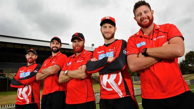 Razor Renegades: From left, Ben Rohrer, Alex Doolan, Nathan Rimmington, Peter Nevill and Michael Hill.