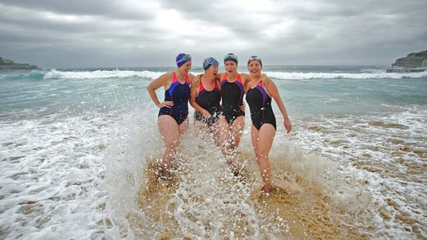 Cakewalk ... friends Georgina Stromland, Kim Paul, Michelle Crowther and Mary Lordan have added ocean swimming to their ...