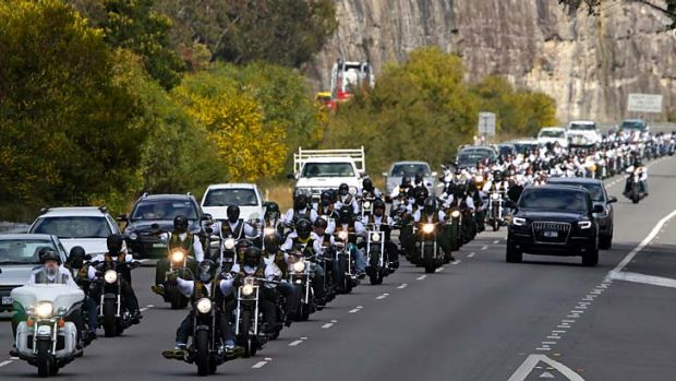 New recruits ... police are targeting unofficial junior members of bikie groups. Above, members of the Comanchero Bike club.