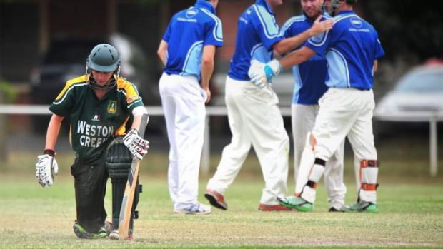 Weston Creek batsman Lewis Harman is disappointed to be run out for six.