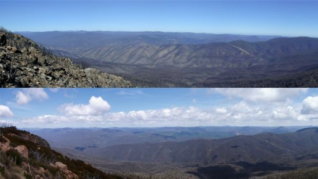 A view from the top of Brindabella National Park, top, after the January 2003 fires, and the same scene in 2012, below.