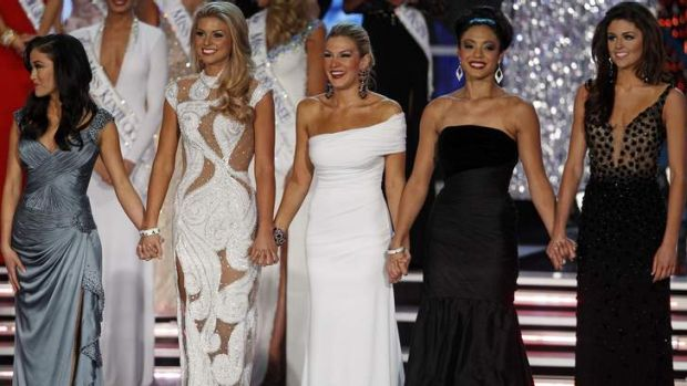 Mallory Hagan, centre, waits onstage with the other finalists.