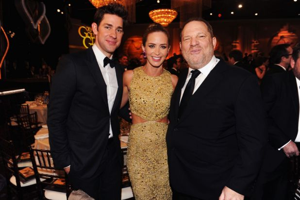 John Krasinski, Emily Blunt and Harvey Weinstein at the 70th Annual Golden Globe Awards cocktail party at The Beverly ...