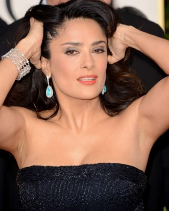 Actress Salma Hayek arrives at the 70th Annual Golden Globe Awards held at The Beverly Hilton Hotel on January 13, 2013 ...