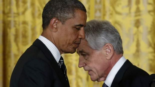 THE MORE THINGS CHANGE: President Barack Obama and Chuck Hagel at the announcement of Hagel's nomination.
