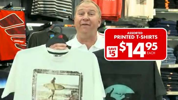 The Lowes menswear chain's TV commercial featuring Paul Sironen with the disputed T-shirts.