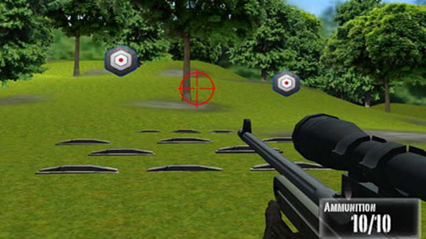 Questionable timing ... a screenshot of <em>NRA: Practice Range</em>.