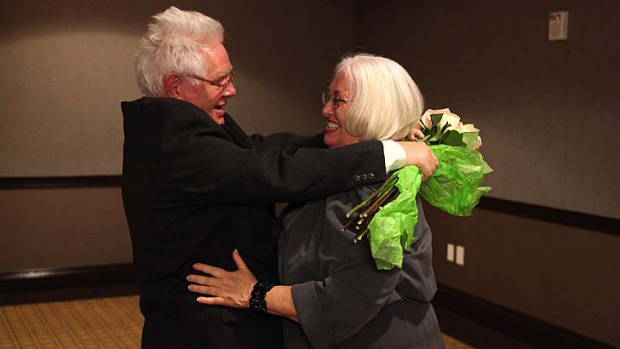 A long time coming ... Clifford Boyson and his sister, Betty Billadeau, reunite after 65 years.