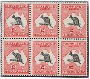 Hopping … this block of six £2 Kangaroo stamps sold for $27,500 at Leski Auctions.