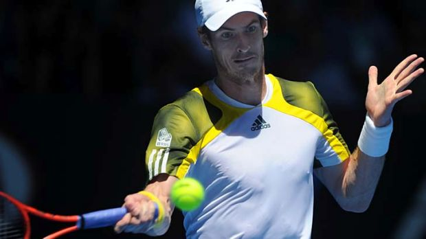 To the fore: Andy Murray in the first round against Robin Haase.