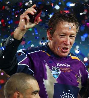 Popular figure … Craig Bellamy celebrates Melbourne's triumph in last year's grand final.