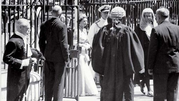 Bicentennial special ... the Queen visits NSW Parliament in 1954.