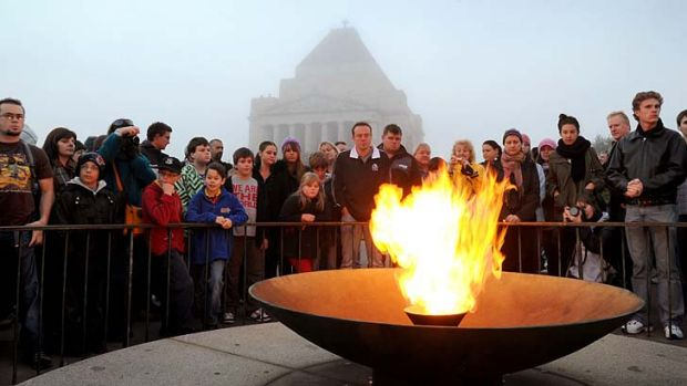 The eternal flame at the Shrine of Remembrance.