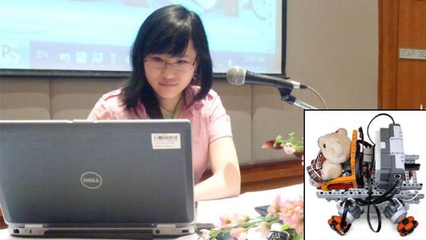 Yaya presents her findings to a conference in Bangkok. Inset, a prototype of her wheelchair.