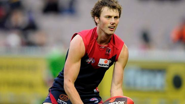 Former Demon Jordan Gysberts had over 20 possessions in his first game for Melbourne against Geelong.