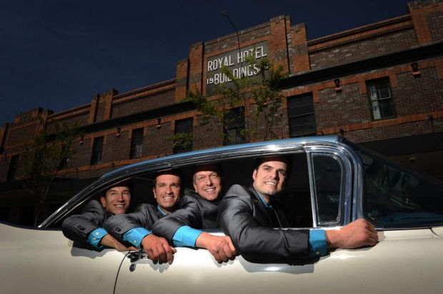The cast of Oh What A Night arrive at the Royal Hotel Queanbeyan in a Dolores 1959 Cadillac Fleetwood Coupe.