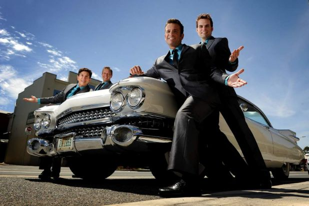 The cast from Oh What A Night arrive at the Royal Hotel Queanbeyan in a Dolores 1959 Cadillac Fleetwood Coupe.