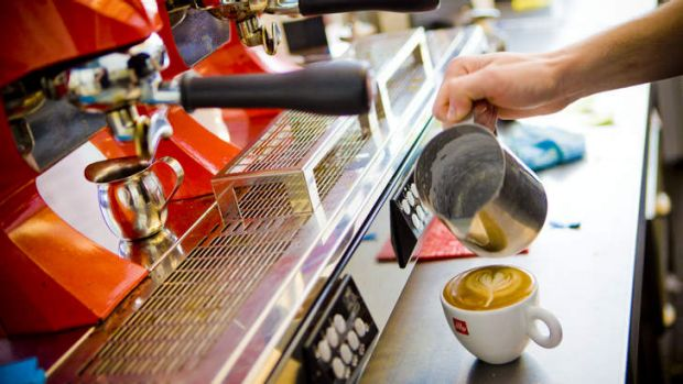 Hot option . . . serving coffee pays the rent for many students.