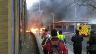 A general view of the scene shortly after a helicopter crashed in the Vauxhall area of central London.