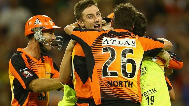 The Perth Scorchers celebrate their dramatic win over the Melbourne Stars on Wednesday night.