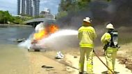 A jet-ski explodes on the Gold Coast, in a shock for two teenagers