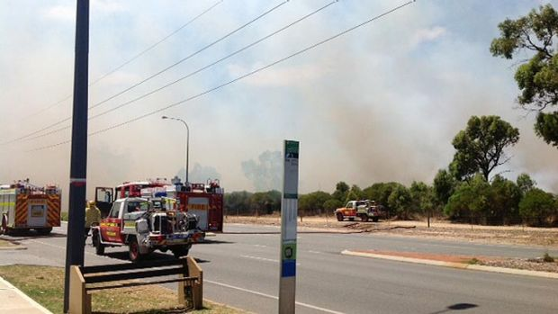 Firetrucks attend the fire near Rockingham on Thursday. Photo from perthweatherlive.com