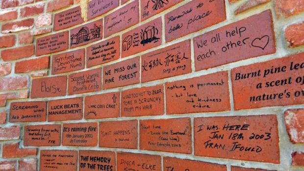 A close up of bricks from the memorial wall.