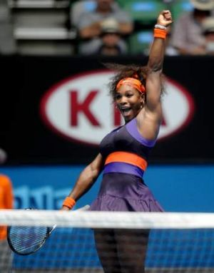 Aced it: Serena Williams celebrates her win over Garbine Muguruza on Rod Laver Arena.