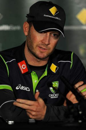 Playing a straight bat: Australian captain Michael Clarke at a press conference.