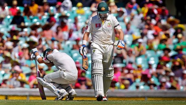 Falling out at the SCG ... Michael Hussey and Michael Clarke.