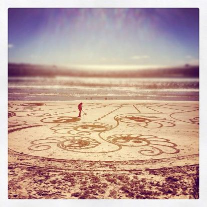 Sand art, Byron Bay. Photo: James Britton