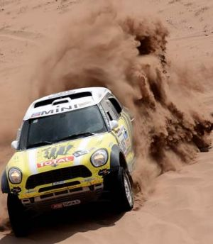 Spaniard Joan Nani Roma steers his Mini during Stage 12 of the 2013 Dakar Rally between Fiambala in Argentina and ...