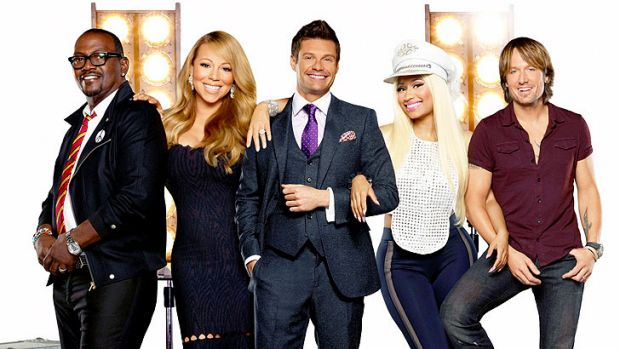 Randy Jackson, Mariah Carey, host Ryan Seacrest, Nicki Minaj and Keith Urban of <i>American Idol</i>.