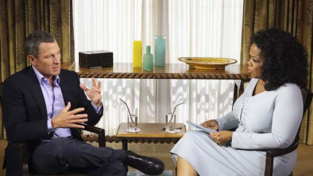 "Talk-show host Oprah Winfrey interviews Lance Armstrong during taping for the show ""Oprah and Lance Armstrong: The ..."