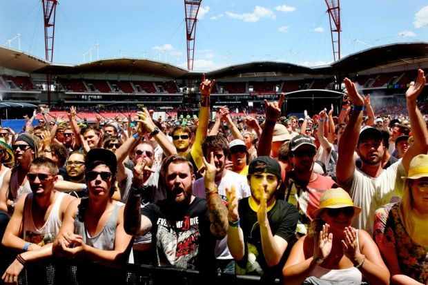 The crowd enjoys the day at the Big Day Out 2013 in Sydney.