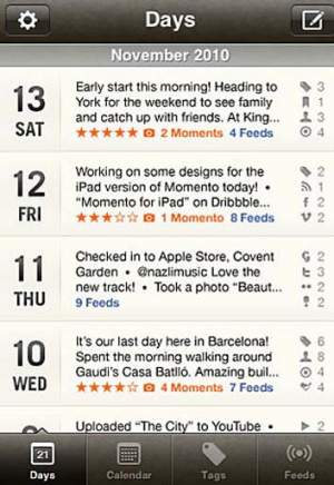 A screenshot of the Momento app for iPhone.