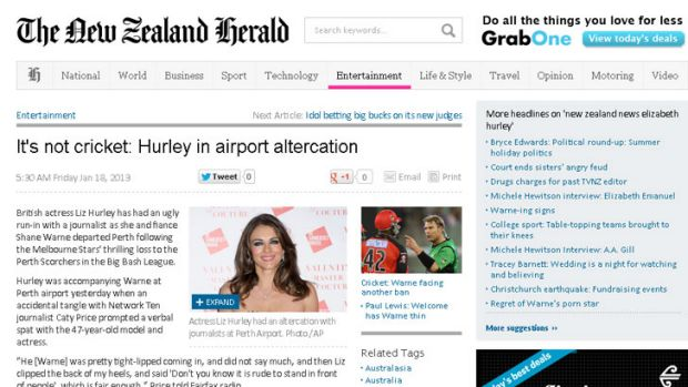 <i>The New Zealand Herald</i> ran the story the following morning