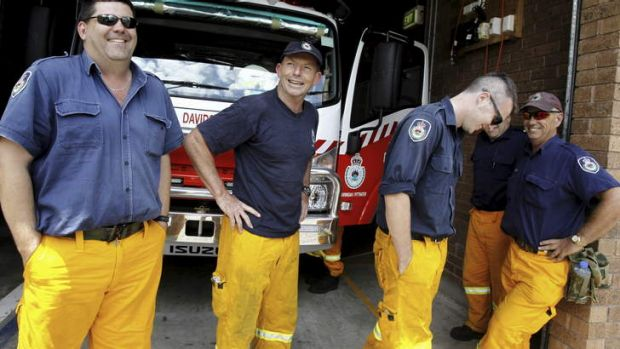 Tony Abbott at the Davidson Rural Fire Brigade where he volunteers.