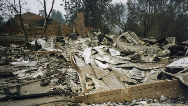 The destroyed house of Clive Williams's father in Allchin Circuit, Kambah, a day after the firestorm.