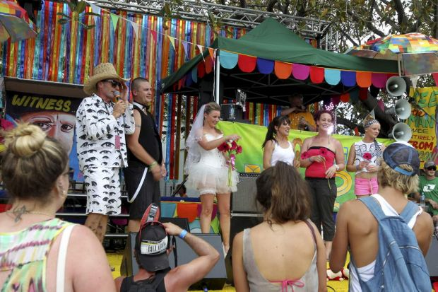 A couple wed at the Lilypad stage at the Big Day Out in Sydney.