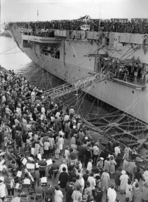 Troops, including conscripted servicemen, depart on HMAS Sydney in 1966, bound for Vietnam.