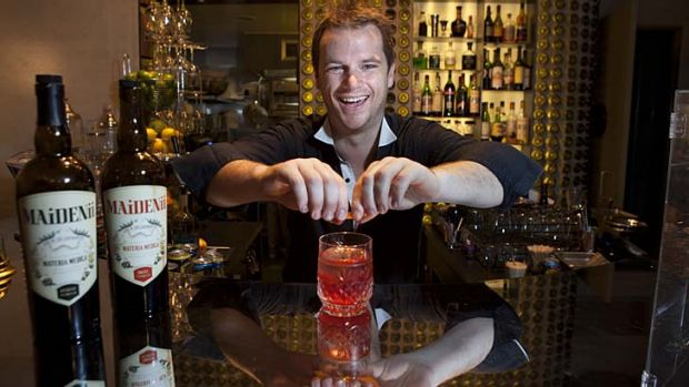 Shaun Byrne mixes up a cocktail at Bar Ampere in Russell Place. He has collaborated with French winemaker Gilles Lapulus ...