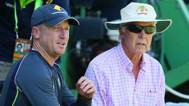 Dodging bouncers over his selection policy ... John Inverarity with occasional Australian wicketkeeper Brad Haddin.