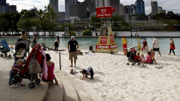 South Bank is a popular place for swimmers on hot days in Brisbane.