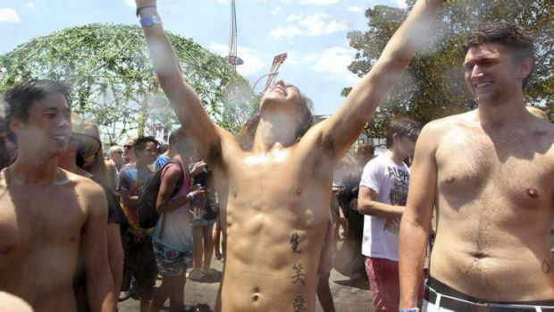 Searingly good ... Music lovers endure the heat at Sydney's Big Day Out.